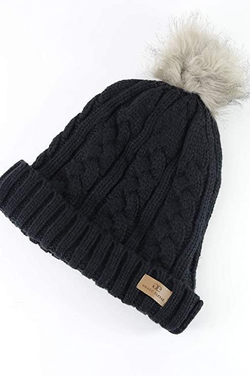 <p><span>Grace Eleyae GE I Warm Knit Foldover Satin Lined Beanie with Faux Fur Pom</span> ($50)</p>