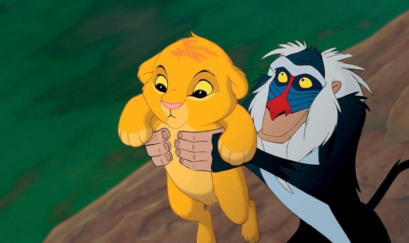 Simba and Rafiki from the original version of The Lion King