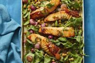 """<p>Jalapeño-infused honey and spicy radishes give this dish a one-two punch you won't get elsewhere. """"Salmon is a wonderful protein,"""" Gorin says. <br></p><p><em><a href=""""https://www.womansday.com/food-recipes/a32291919/hot-honey-roasted-salmon-and-radishes-recipe/"""" rel=""""nofollow noopener"""" target=""""_blank"""" data-ylk=""""slk:Get the Hot Honey-Roasted Salmon and Radishes recipe."""" class=""""link rapid-noclick-resp"""">Get the Hot Honey-Roasted Salmon and Radishes recipe.</a></em><br></p>"""