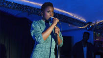 <p>The mic drop moment in <em>Insecure</em>'s series premiere arrives when Issa takes her rap game from the bathroom mirror to the club stage. Using her friend Molly's relationship troubles as fodder for some impromptu rhymes, the undervalued nonprofit worker bee flexes her dormant artistic muscles, finding a new sense of self — and creating a viral hit — in the process. To borrow a lyric from Eminem, she lost herself in the music, the moment, and owned it. —<em>EA</em> <br>(Photo: HBO) </p>