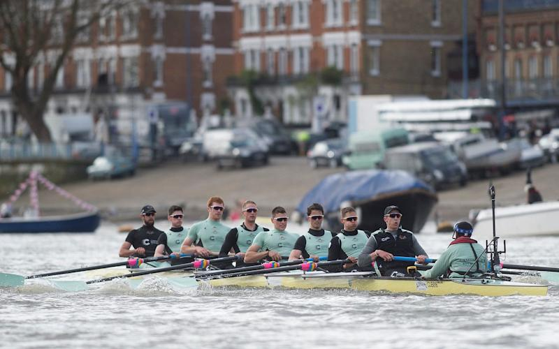 Cambridge boat practising on The Thames ahead of Sunday's race - .
