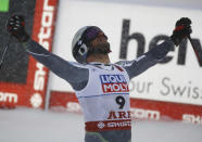 Norway's Aksel Lund Svindal reacts in the finish area after the men's downhill race, at the alpine ski World Championships in Are, Sweden, Saturday, Feb. 9, 2019. (AP Photo/Marco Trovati)