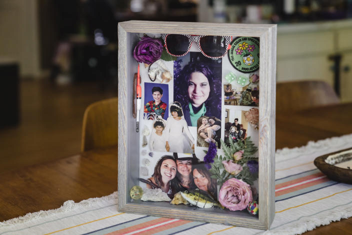 A memory box for Rosanne Boyland at the home of her sister Lonna Cave in Marietta, Ga., May 16, 2021. (Nicole Craine/The New York Times)