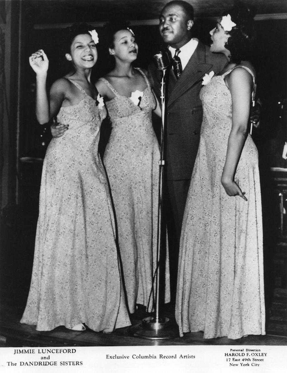 <p>The Dandridge Sisters were a success. Soon, they became a fixture at clubs across the country and began opening for acts like Cab Calloway and Jimmie Lunceford (pictured).</p>
