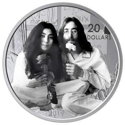The Royal Canadian Mint's silver collector coin celebrating 50 years since Give Peace A Chance was recorded at Montreal's Queen Elizabeth Hotel (CNW Group/Royal Canadian Mint)