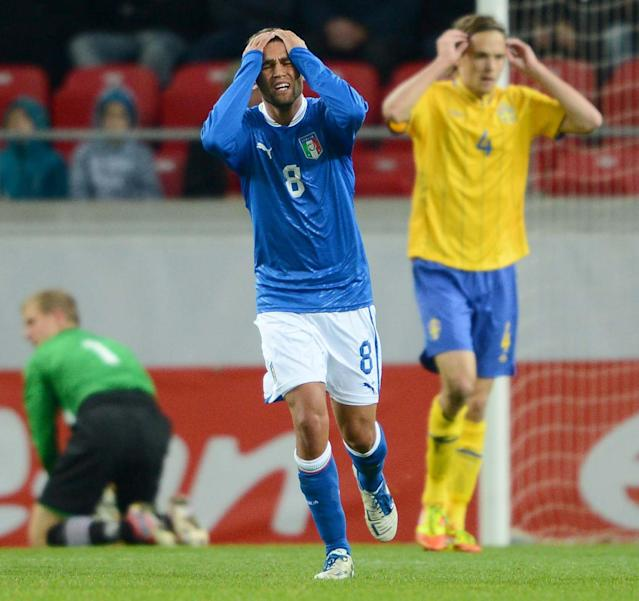 Italy's Fausto Rossi (8) reacts after a missed chance during the UEFA European Under-21 Championship qualification match between Sweden and Italy at the Guldfageln arena in Kalmar, on October 16, 2012. AFP PHOTO/SCANPIX/ Patric SoderstromPatric Soderstrom/AFP/Getty Images