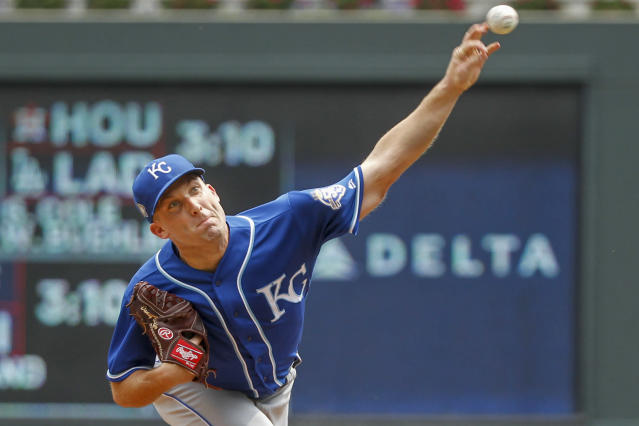 Kansas City Royals starting pitcher Danny Duffy throws to the Minnesota Twins in the first inning of a baseball game Sunday, Aug. 5, 2018, in Minneapolis. (AP Photo/Bruce Kluckhohn)