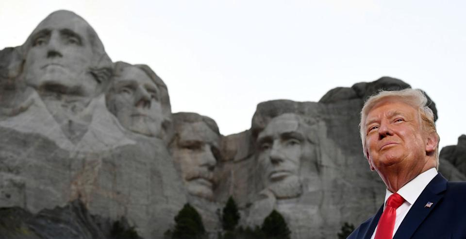 US President Donald Trump in front of Mount Rushmore.