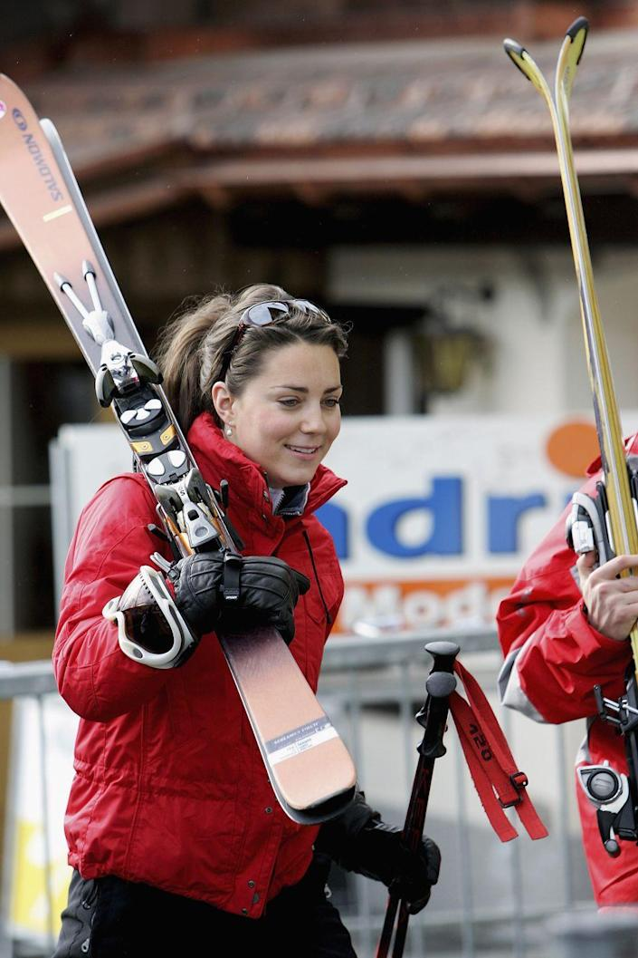 <p>On one of her first trips with the royals, Kate skied in Klosters, Switzerland. She proved herself by looking quite adept on the slopes, wearing a chic red jacket and (seemingly) effortlessly carrying her skis. </p>