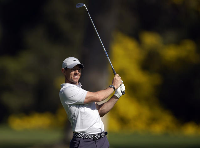 Rory McIlroy, of Northern Ireland, watches his second shot on the 13th hole during the third round of the Genesis Invitational golf tournament at Riviera Country Club, Saturday, Feb. 15, 2020, in the Pacific Palisades area of Los Angeles. (AP Photo/Ryan Kang)