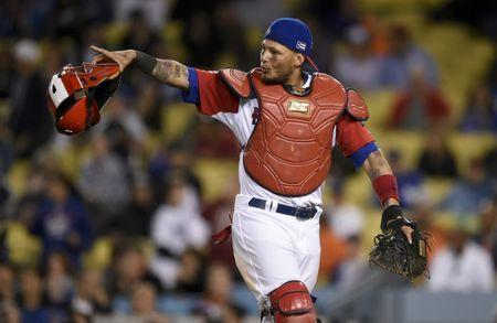 Mar 20, 2017; Los Angeles, CA, USA; Puerto Rico catcher Yadier Molina (4) reacts against Netherlands during the eleventh inning of the 2017 World Baseball Classic at Dodger Stadium. Puerto Rico won 4-3. Kelvin Kuo-USA TODAY Sports