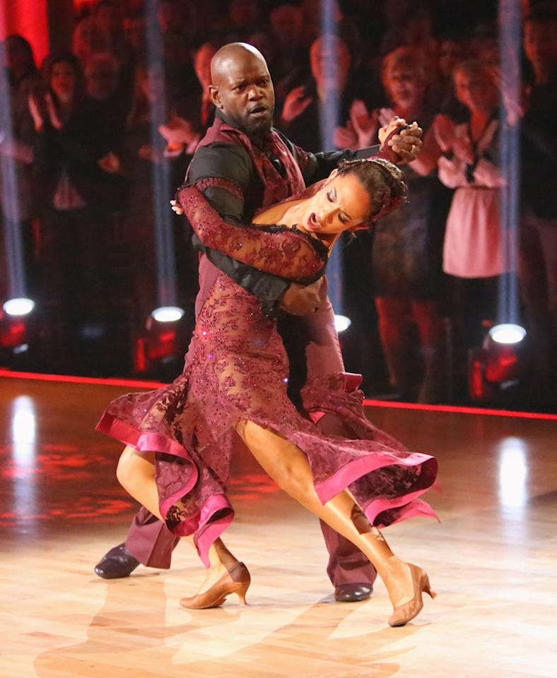 "Emmitt Smith and Cheryl Burke perform on ""Dancing With the Stars: All-Stars."""