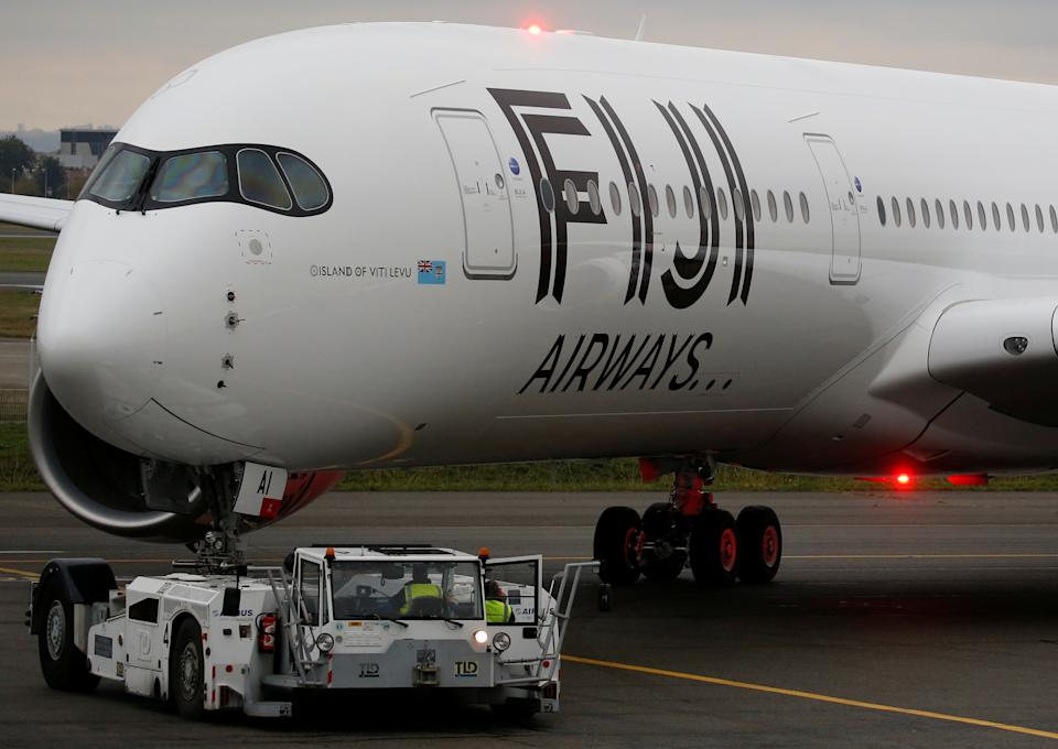 The first Airbus A350 XWB aircraft of Fiji Airways prepares to take off at the aircraft builder's headquarters of Airbus in Colomiers near Toulouse, France, November 15, 2019. REUTERS/Regis Duvignau