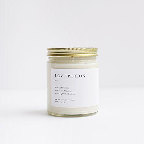 """<p><strong>Brooklyn Candle Studio</strong></p><p>amazon.com</p><p><strong>$24.00</strong></p><p><a href=""""https://www.amazon.com/dp/B07889ZYT7?tag=syn-yahoo-20&ascsubtag=%5Bartid%7C10050.g.1416%5Bsrc%7Cyahoo-us"""" rel=""""nofollow noopener"""" target=""""_blank"""" data-ylk=""""slk:Shop Now"""" class=""""link rapid-noclick-resp"""">Shop Now</a></p><p>Notes of jasmine, lavender, and mandarin make this """"Love Potion"""" candle well worth the splurge. We're also big fans of its minimalist packaging.</p>"""