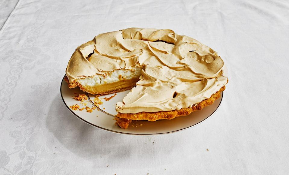 "A custard pie inspired by the milk and honey-based desserts across India, Bangladesh, and the Middle East, with milk powder in the meringue that makes it almost creamy in the middle, chewy on the outside—similar to the texture of pavlova. Use a mild honey so the flavor doesn't overwhelm the pie. Mounding the meringue onto the pudding while it is still hot helps it set better so you don't end up with a weepy, slip-slide-y meringue. This recipe is part of Sohla El-Waylly's Thanksgiving-for-two-or-maybe-eight feast, <a href=""https://bonappetit.com/gallery/sohla-el-waylly-thanksgiving-menu"" rel=""nofollow noopener"" target=""_blank"" data-ylk=""slk:see the full menu here"" class=""link rapid-noclick-resp"">see the full menu here</a>. <a href=""https://www.bonappetit.com/recipe/milk-and-honey-pie?mbid=synd_yahoo_rss"" rel=""nofollow noopener"" target=""_blank"" data-ylk=""slk:See recipe."" class=""link rapid-noclick-resp"">See recipe.</a>"