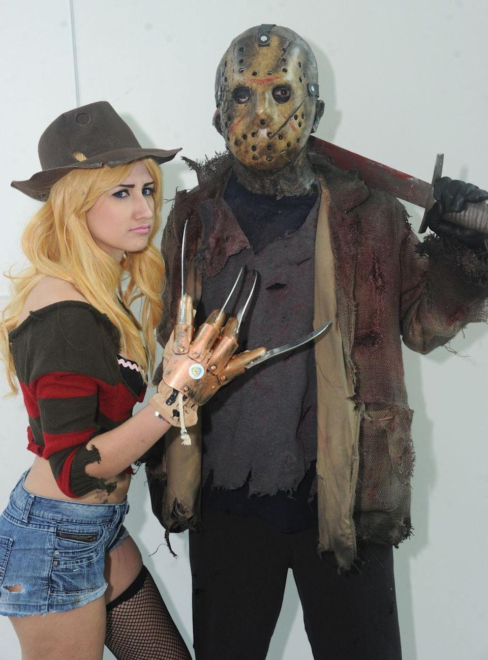 """<p>Classic scary movies equal classic scary couples costumes, like Jason Voorhees and Freddy Krueger here.</p><p><a class=""""link rapid-noclick-resp"""" href=""""https://www.amazon.com/SUIT-YOURSELF-Voorhees-Costume-Standard/dp/B07QX1LM8C?tag=syn-yahoo-20&ascsubtag=%5Bartid%7C10070.g.28669645%5Bsrc%7Cyahoo-us"""" rel=""""nofollow noopener"""" target=""""_blank"""" data-ylk=""""slk:SHOP MEN'S COSTUME"""">SHOP MEN'S COSTUME</a></p><p><a class=""""link rapid-noclick-resp"""" href=""""https://www.amazon.com/Secret-Wishes-Miss-Krueger-Costume/dp/B001AX0QCI?tag=syn-yahoo-20&ascsubtag=%5Bartid%7C10070.g.28669645%5Bsrc%7Cyahoo-us"""" rel=""""nofollow noopener"""" target=""""_blank"""" data-ylk=""""slk:SHOP WOMEN'S COSTUME"""">SHOP WOMEN'S COSTUME</a></p>"""