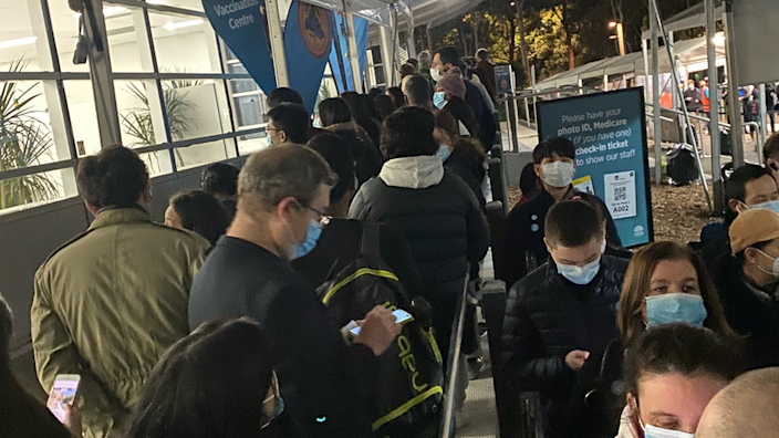 The after-work queue at Sydney's main vaccine hub on Monday