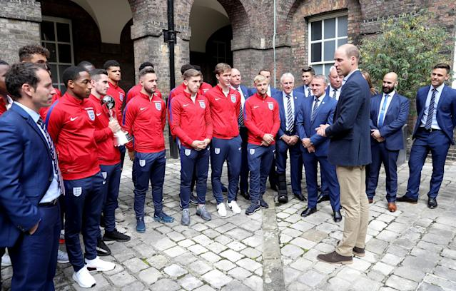 LONDON, ENGLAND - SEPTEMBER 07: Prince William, Duke of Cambridge (third right), President of the Football Association, hosts a reception for the Under-20 England Football Team at Kensington Palace on September 7, 2017 in London, England. The England Under-20 side became the first England team to win a football World Cup since 1996 when they beat Venezuela 1-0 on June 11th, 2017. (Photo by Chris Jackson - WPA Pool/Getty Images)