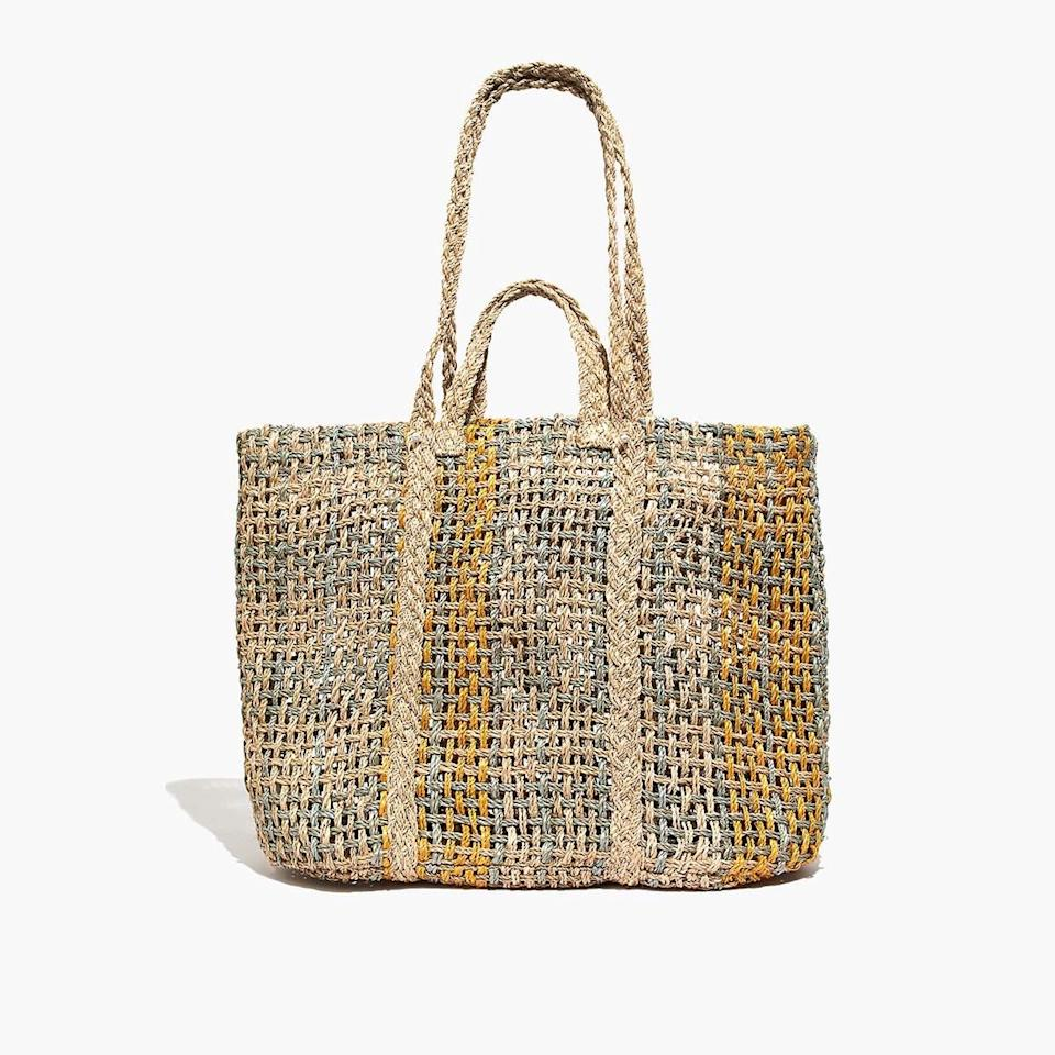 """$78, Madewell. <a href=""""https://www.madewell.com/the-straw-beach-tote-bag-99105856713.html"""" rel=""""nofollow noopener"""" target=""""_blank"""" data-ylk=""""slk:Get it now!"""" class=""""link rapid-noclick-resp"""">Get it now!</a>"""