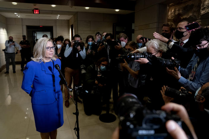 Rep. Liz Cheney (R-Wyo.) speaks to reporters following a Republican vote to remove her from her leadership position, at the Capitol in Washington on Wednesday, May 12, 2021. (Stefani Reynolds/The New York Times)