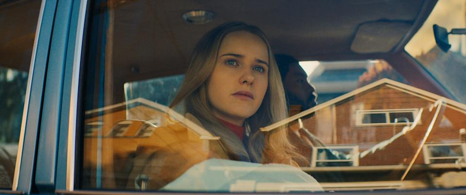 """Rachel Brosnahan (with Arinzé Kene) plays a criminal's wife who needs to go on the run with a baby in the drama """"I'm Your Woman."""""""