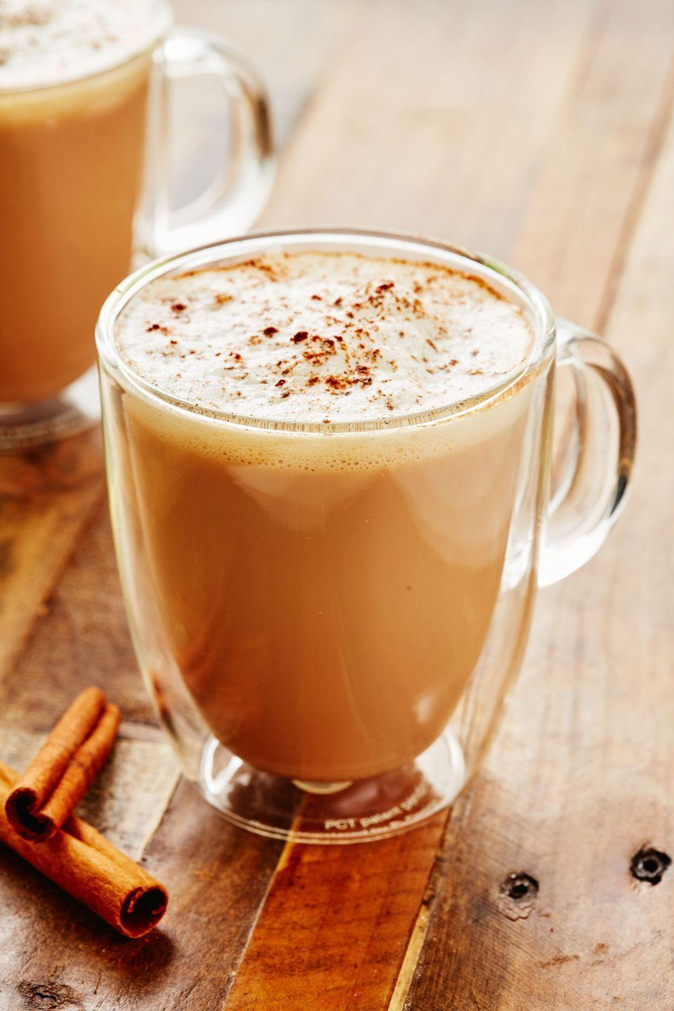 """<p>Warming, slightly spiced, and absolutely delicious, this chai will become your mid-afternoon go-to. </p><p>Get the recipe from <a href=""""https://www.delish.com/cooking/recipe-ideas/a28899368/how-to-make-chai-latte-recipe/"""" rel=""""nofollow noopener"""" target=""""_blank"""" data-ylk=""""slk:Delish"""" class=""""link rapid-noclick-resp"""">Delish</a>.</p>"""