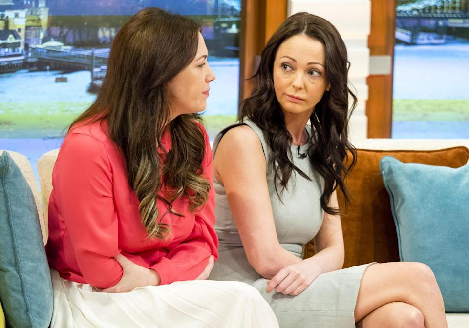 Sammy Woodhouse, right, pictured with her sister on Good Morning Britain, waived her right to anonymity (Rex)