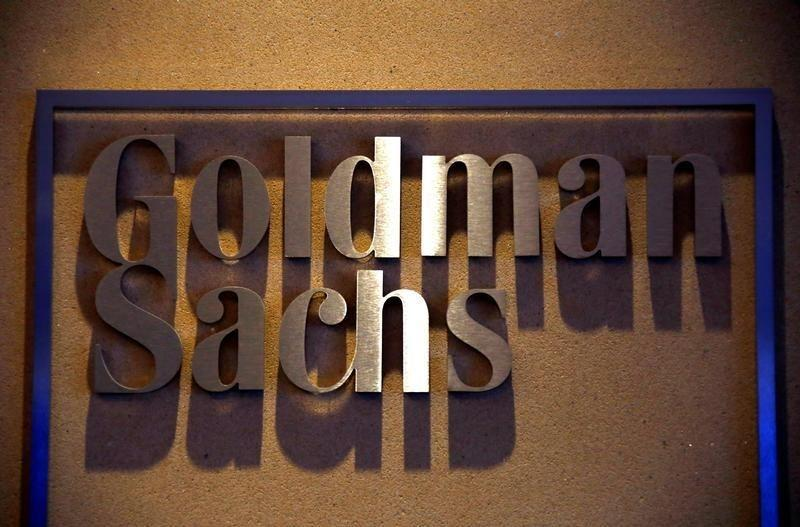 A sign is displayed in the reception of the Sydney offices of Goldman Sachs in Australia