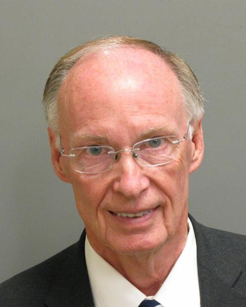 This photo provided Montgomery County Sheriff's office shows a booking mugshot of Alabama Gov. Robert Bentley on Monday, April 10, 2017. Jail records show Bentley has been booked on two misdemeanor charges that arose from the investigation of alleged affair with a top aide. (Montgomery County Sheriff via AP)