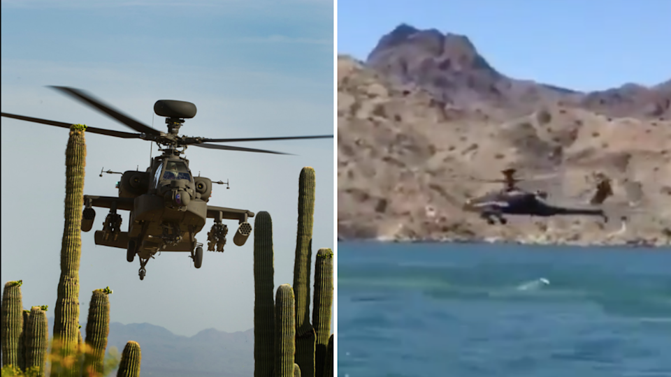 """Apache AH-64 taken from <a href=""""https://www.boeing.com/defense/ah-64-apache/"""" rel=""""nofollow noopener"""" target=""""_blank"""" data-ylk=""""slk:Boeing"""" class=""""link rapid-noclick-resp"""">Boeing</a> website (left); Chopper seen at the back in the viral video (right)."""