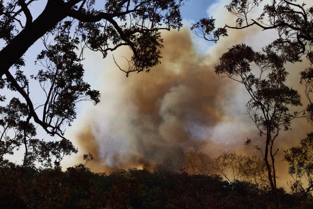 Smoke approaches a property on Putty Road on November 15, 2019 in Colo Heights, Australia. The warning has been issued for a 80,000-hectare blaze at Gospers Mountain, which is burning in the direction of Colo Heights. An estimated million hectares of land has been burned by bushfire across Australia following catastrophic fire conditions - the highest possible level of bushfire danger - in the past week. A state of emergency was declared by NSW Premier Gladys Berejiklian on Monday 11 November and is still in effect, giving emergency powers to Rural Fire Service Commissioner Shane Fitzsimmons and prohibiting fires across the state. Four people have died following the bushfires in NSW this week. (Photo by Brett Hemmings/Getty Images)