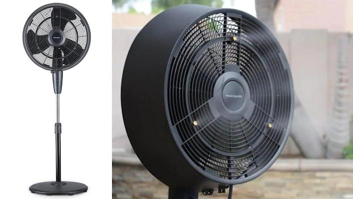 This outdoor fan sprays a cooling mist as it oscillates back and forth.