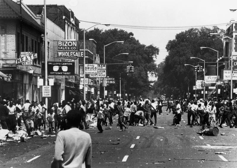 A demonstration in the streets of Detroit in August 1967. (Keystone-France via Getty Images)