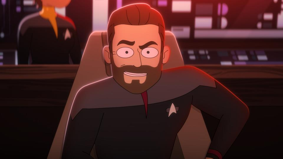 Pictured: Jonathan Frakes as Captain William T. Riker of the CBS All Access series STAR TREK: LOWER DECKS.   Photo Cr: Best Possible Screen Grab CBS 2020 CBS Interactive, Inc. All Rights Reserved.