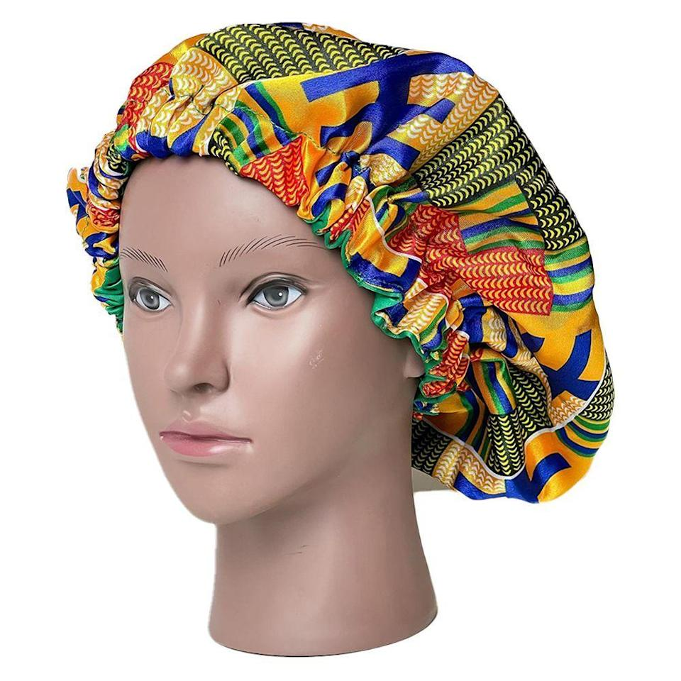 """<p><strong>Felicia Hair Bonnets</strong></p><p>etsy.com</p><p><strong>$16.27</strong></p><p><a href=""""https://go.redirectingat.com?id=74968X1596630&url=https%3A%2F%2Fwww.etsy.com%2Flisting%2F784692855%2Fwomens-double-sided-african-print-ankara&sref=https%3A%2F%2Fwww.bestproducts.com%2Fbeauty%2Fg36597377%2Fbest-hair-bonnets%2F"""" rel=""""nofollow noopener"""" target=""""_blank"""" data-ylk=""""slk:Shop Now"""" class=""""link rapid-noclick-resp"""">Shop Now</a></p><p>Feeling like switching things up with the style of your bonnets? Then slip one of these reversible styles on your head. Each of these bonnets from Felicia Hair Bonnets are double-lined with satin, and they're reversible to show off two different Ankara prints. It's basically like getting two bonnets for the price of one, and who doesn't love a bargain?</p>"""