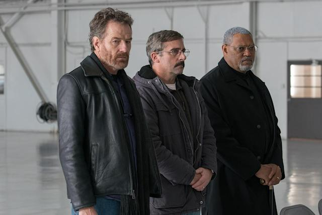 Bryan Cranston, Steve Carrell and Laurence Fishburne in <em>Last Flag Flying</em> (Photo by Wilson Webb)