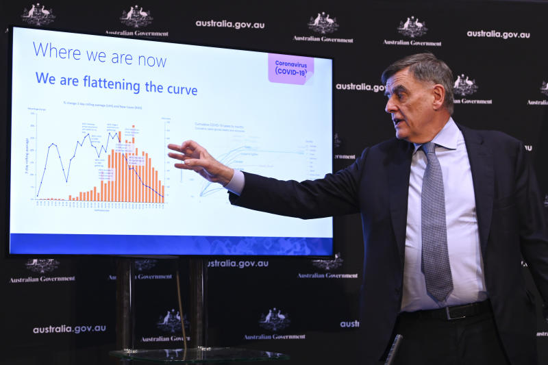 Brendan Murphy, Australia's Chief Medical Officer, speaks about coronavirus modelling at Parliament House in Canberra.