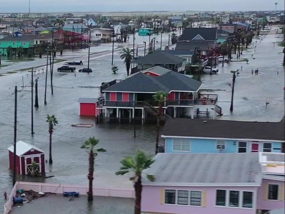 Flooding after storm Nicholas, as seen by drone camera (TheWeatherChannel)