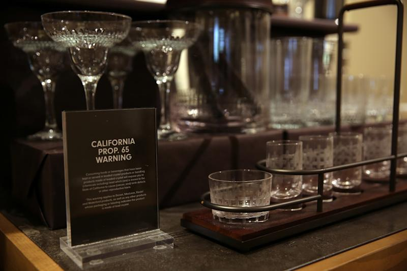 Glassware at Williams Sonoma on Beverly Drive is displayed with a Proposition 65 warning.