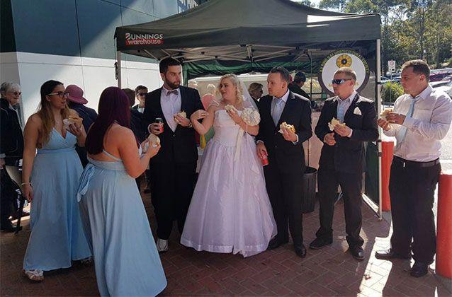 The Sydney couple's wedding was definitely memorable. Picture: Jordan Wilson