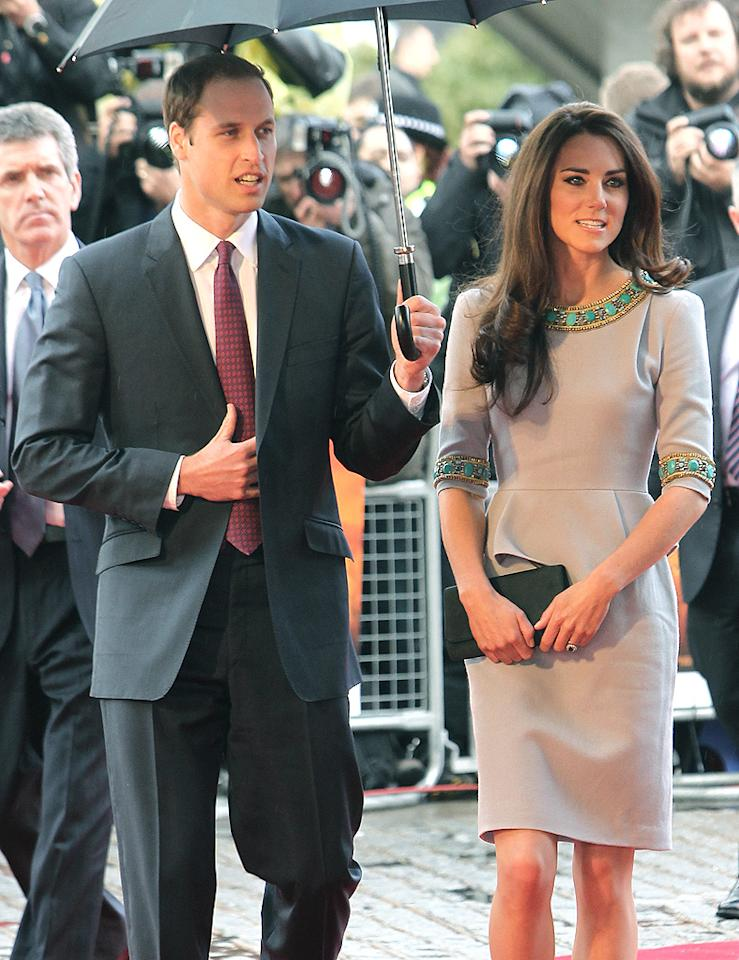 "<p class=""MsoNormal"">Prince William and wife Kate Middleton haven't made any public appearances together since January, but when the two decided to step out on Wednesday in London for the premiere of the film ""African Cats,"" they got caught in the rain. (It is London, after all!) Luckily, Duchess Catherine has a very chivalrous husband willing to hold an umbrella for her! (4/25/2012)</p>"
