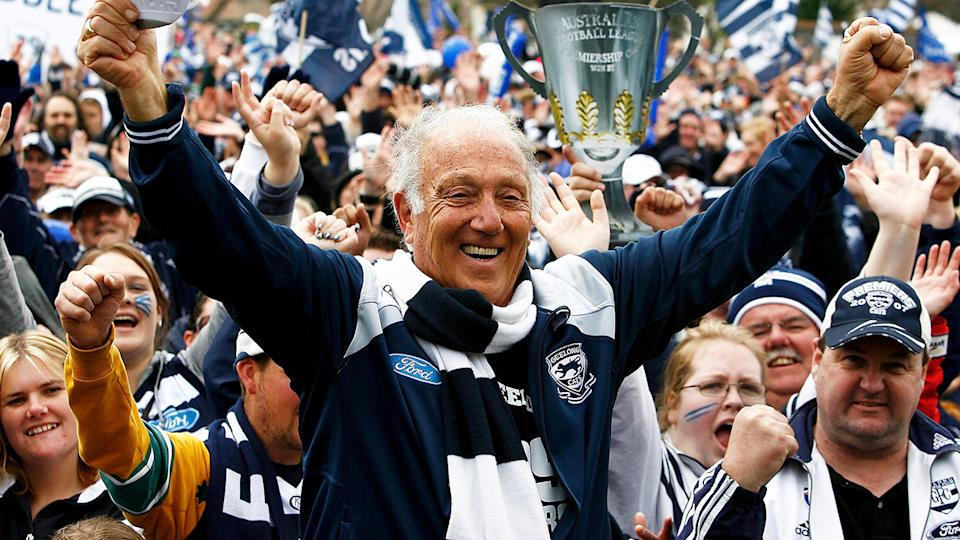 The Geelong Cats are mourning the death of beloved former club president Frank Costa, who died on Sunday, aged 83. (Photo by Quinn Rooney/Getty Images)