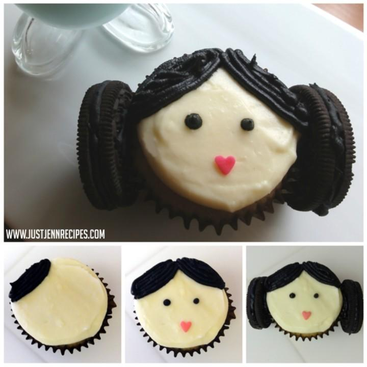 ThesePrincess Leia cupcakeswith Oreo hair buns are a cute tribute to Fisher.