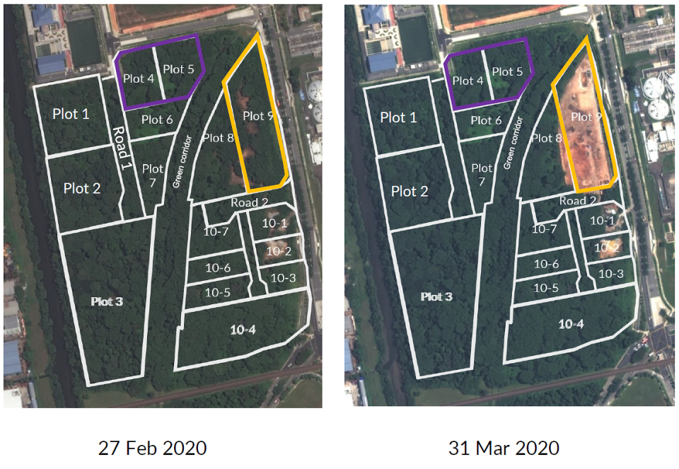 Satellite images depicting the progress of clearance from February to March 2020. (PHOTO: JTC Corp)