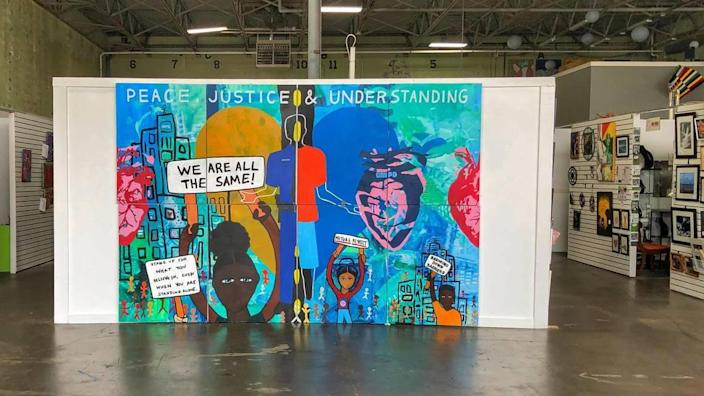 This mural is on display at the Charlotte Art League. The art league's new executive director, Jim Dukes, says one of his goals is to make CAL one of the most diverse and engaged creative studio spaces in Charlotte.