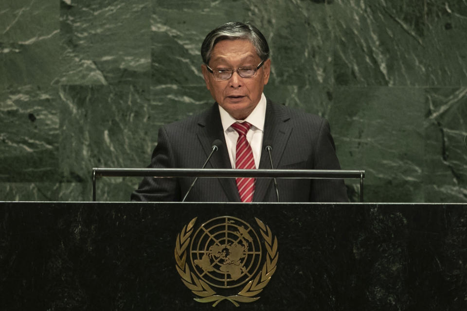 Myanmar's Minister of the Office of the State Counsellor Kyaw Tint Swe addresses the 74th session of the United Nations General Assembly at the U.N. headquarters Saturday, Sept. 28, 2019. (AP Photo/Jeenah Moon)