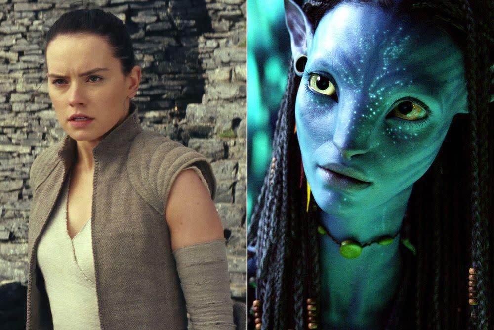Rey from Star Wars; Neytiri from Avatar | Lucasfilm/Disney/Kobal/REX/Shutterstock; Moviestore/REX/Shutterstock