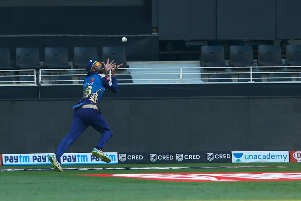 Krunal Pandya's brilliant running catch in the deep ends R Ashwin's stay in the middle.