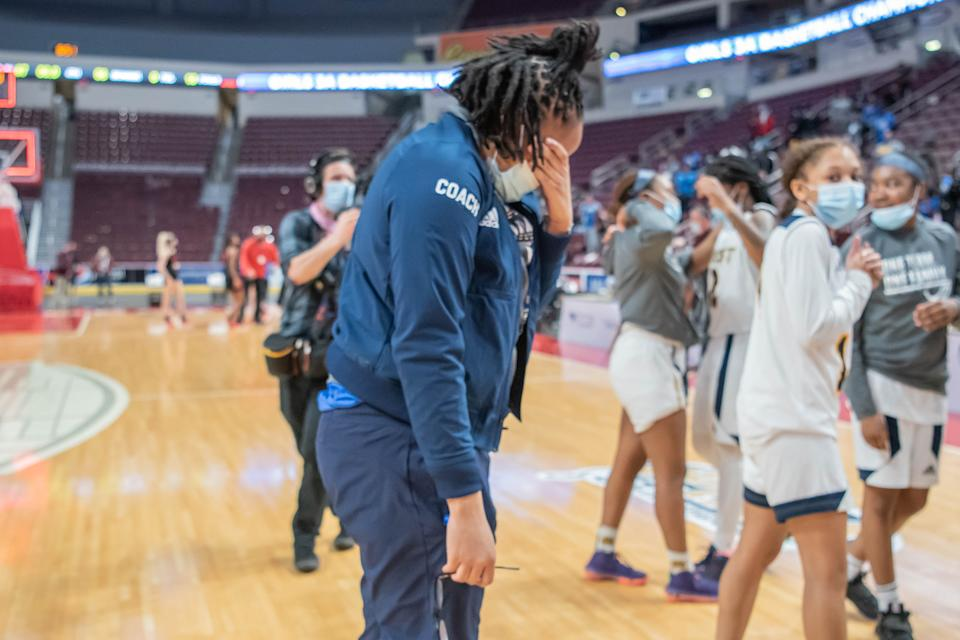 Beulah Osueke celebrates leading West Catholic to a Pennsylvania state championship in March. (Photo provided by Krystal Williams)