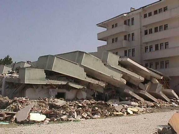 A collapsed building after the Aug. 26, 1999 Izmit, Turkey earthquake.
